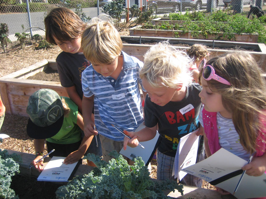 Kinder Students in Garden